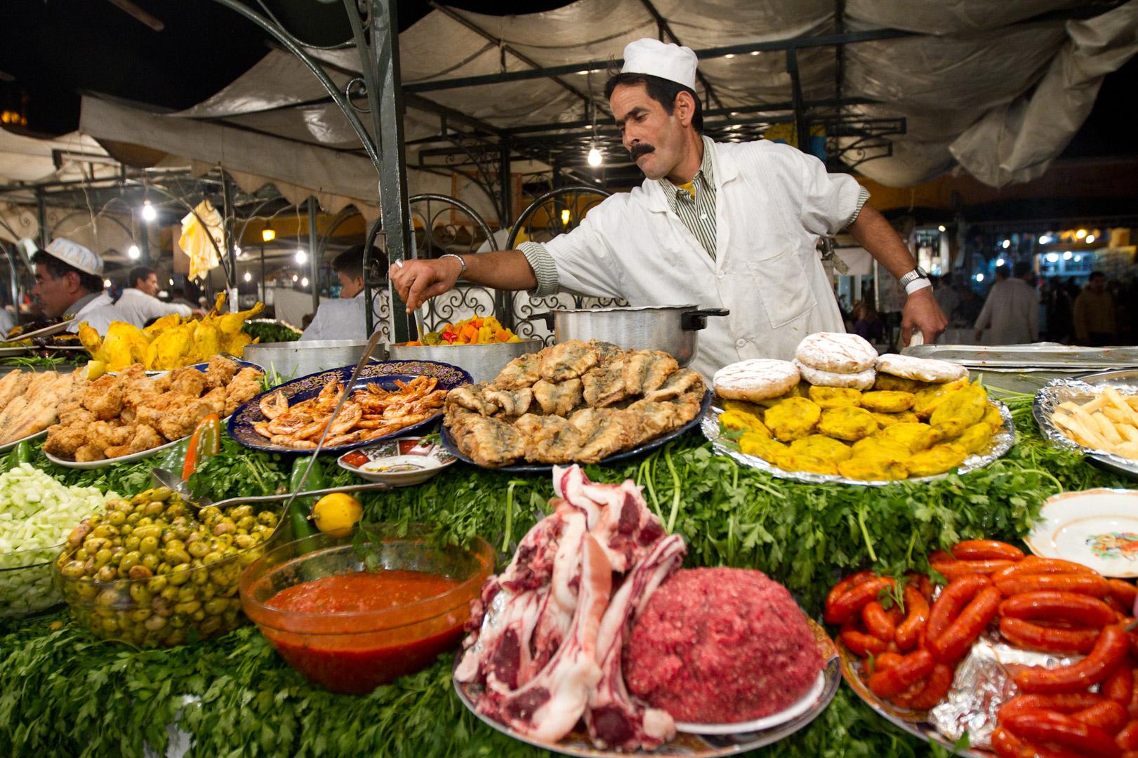 Puesto de comida en Yamma el Fna